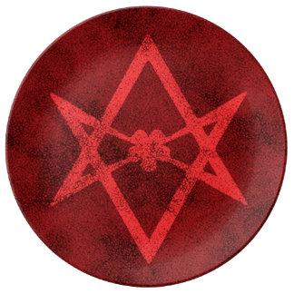 Unicursal Hexagram (Red Textured) Porcelain Plate