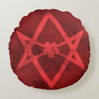 Unicursal Hexagram (Red Textured) Round Pillow