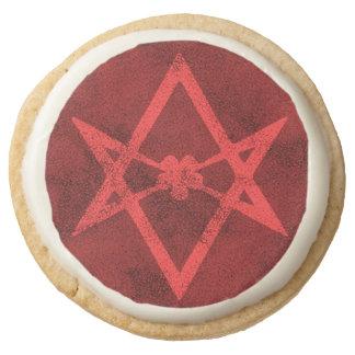 Unicursal Hexagram (Red Textured) Round Shortbread Cookie
