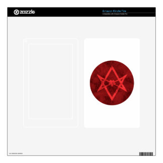 Unicursal Hexagram (Red Textured) Skin For Kindle Fire