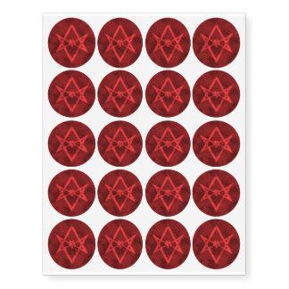 Unicursal Hexagram (Red Textured) Temporary Tattoos