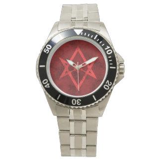 Unicursal Hexagram (Red Textured) Watch