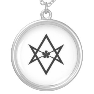 Thelema necklaces lockets zazzle unicursal hexagram silver plated necklace mozeypictures Images