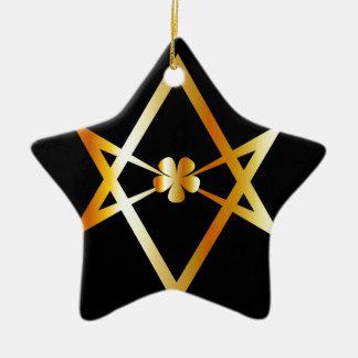 Unicursal hexagram symbol ceramic ornament
