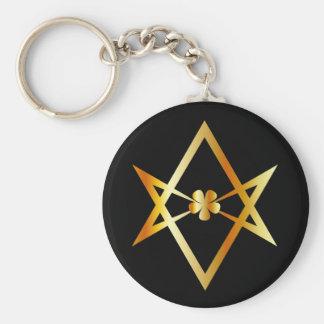 Unicursal hexagram symbol keychain