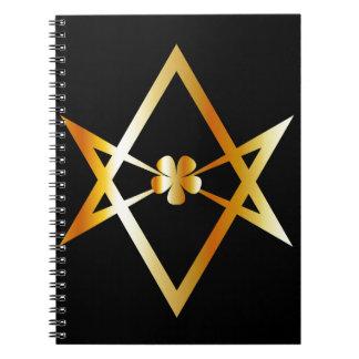 Unicursal hexagram symbol notebook