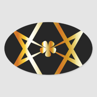 Unicursal hexagram symbol oval sticker