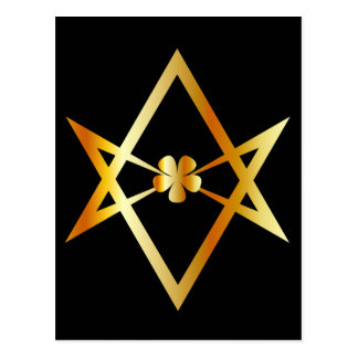 Unicursal hexagram symbol postcard