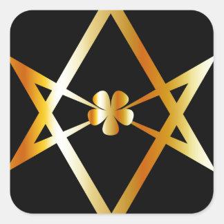 Unicursal hexagram symbol square sticker