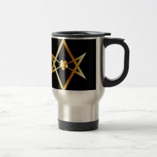 Unicursal hexagram symbol travel mug