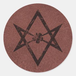 Unicursal Hexagram Thelemic Symbol on Red Leather Classic Round Sticker