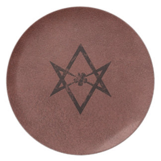 Unicursal Hexagram Thelemic Symbol on Red Leather Dinner Plate