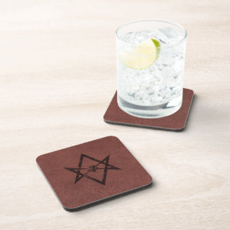 Unicursal Hexagram Thelemic Symbol on Red Leather Drink Coaster