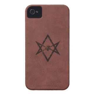 Unicursal Hexagram Thelemic Symbol on Red Leather iPhone 4 Case-Mate Case