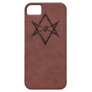 Unicursal Hexagram Thelemic Symbol on Red Leather iPhone SE/5/5s Case