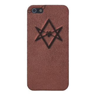 Unicursal Hexagram Thelemic Symbol on Red Leather iPhone SE/5/5s Cover
