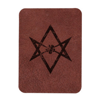 Unicursal Hexagram Thelemic Symbol on Red Leather Magnet