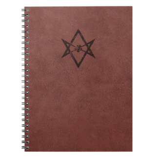 Unicursal Hexagram Thelemic Symbol on Red Leather Spiral Note Book
