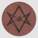 Unicursal Hexagram Thelemic Symbol on Red Leather Round Stickers