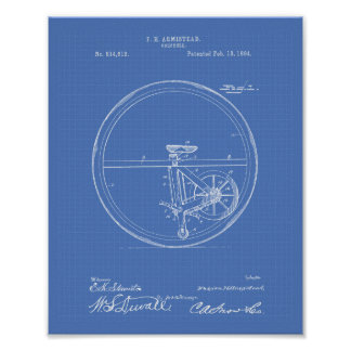 Unicycle 1894 Patent Art Blueprint Poster