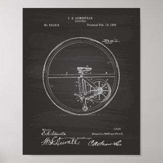 Unicycle 1894 Patent Art Chalkboard Poster