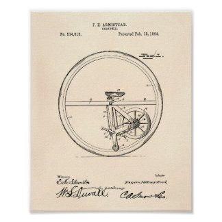 Unicycle 1894 Patent Art Old Peper Poster