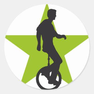 unicycle classic round sticker