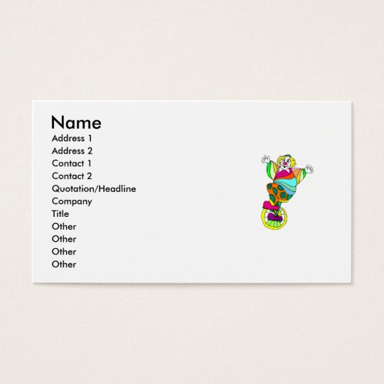 Unicycle Clown Business Card