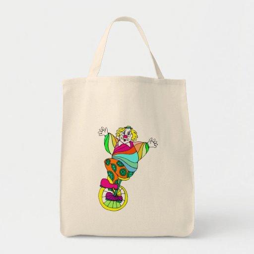 Unicycle Clown Canvas Bag