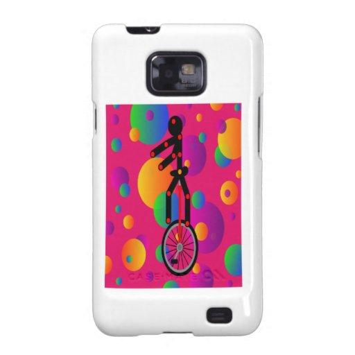 Unicycle fantástico en el circo con el fondo galaxy s2 fundas