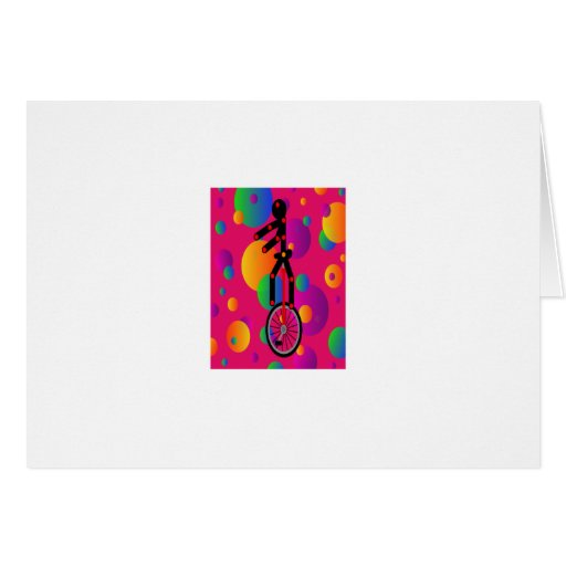 Unicycle fantástico en el circo con el fondo tarjeta de felicitación