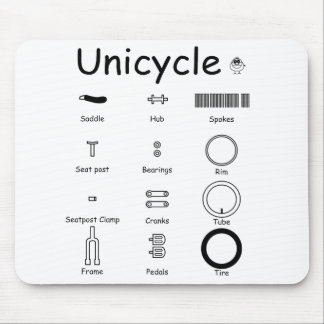 Unicycle parts mouse pad