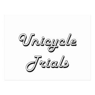 Unicycle Trials Classic Retro Design Postcard