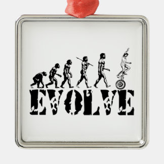 Unicycling Unicyclist Unicycle Evolution Sports Metal Ornament