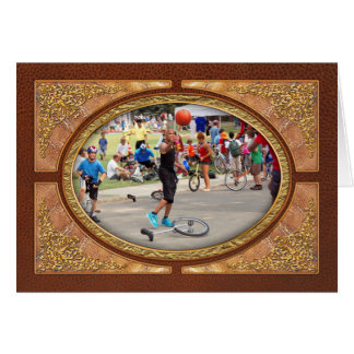 Unicyclist - Basketball - Street rules Greeting Card