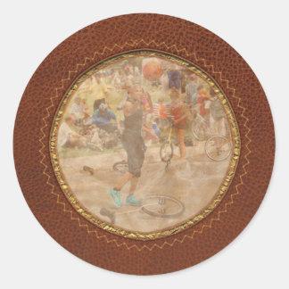 Unicyclist - Basketball - Street rules Classic Round Sticker