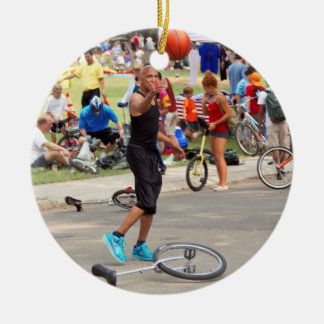 Unicyclist - Basketball - Street rules Double-Sided Ceramic Round Christmas Ornament