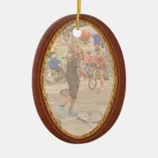 Unicyclist - Basketball - Street rules Double-Sided Oval Ceramic Christmas Ornament