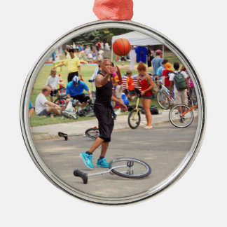 Unicyclist - Basketball - Street rules Round Metal Christmas Ornament
