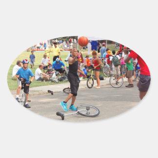 Unicyclist - Basketball - Street rules Oval Sticker