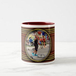 Unicyclist - Basketball - Street rules Two-Tone Coffee Mug