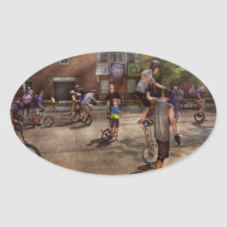 Unicyclist - Unicycle training camp Oval Sticker