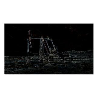 Unidad de bombeo del campo petrolífero en tarjeta tarjetas de visita