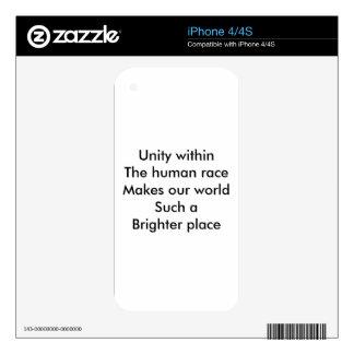 Unidad de la raza humana iPhone 4 calcomanías