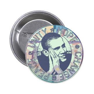 Unidad de Obama, esperanza, cambio y paz 2012 Pin Redondo De 2 Pulgadas