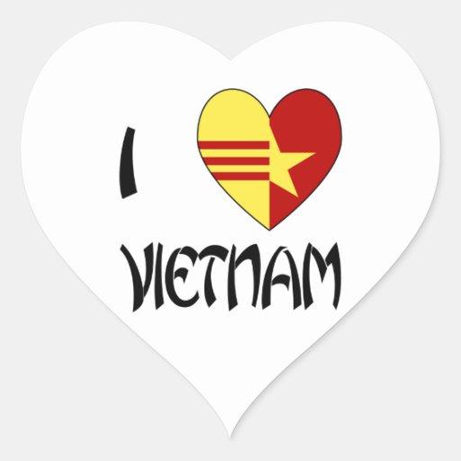 Unidad de Vietnam del amor Pegatina En Forma De Corazón