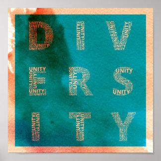 Unidad en poster de la acuarela de la diversidad