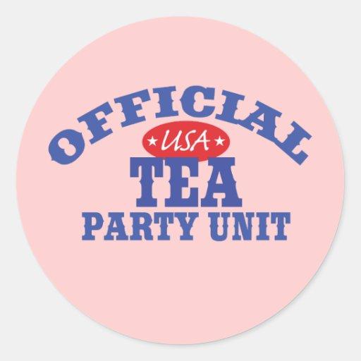 Unidad oficial de la fiesta del té pegatinas redondas