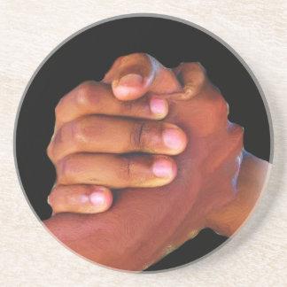 Unidad y amor, mano en Hand_ Posavasos Personalizados