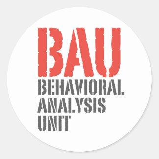 Unidades del análisis del comportamiento de BAU Pegatina Redonda
